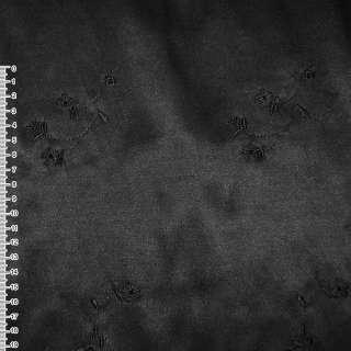 Коттон атлас чорний з чорними вишитими квітами ш.145