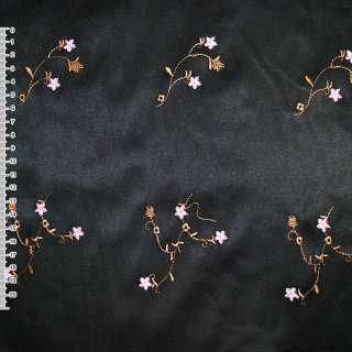 Коттон атлас черный с разноцветным вышитыми цветами ш.145