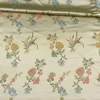 Жаккард атласный бежевый в крупные цветы