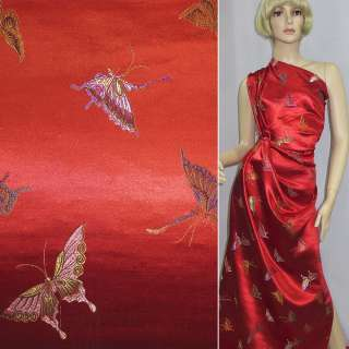 Шелк восточный красный, бабочки