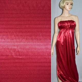 Атлас стрейч шамус жаккардовый вишневый ш.150