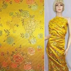 Шелк восточный желтый в разноцветные цветы ш.90