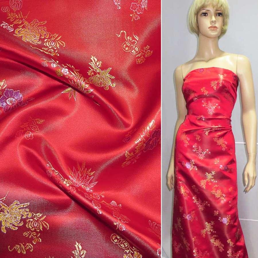 Шелк восточный красный в золотисто-фиолетовые цветы
