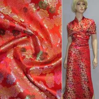 Шелк восточный красный с цветами ш.90