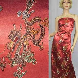Атлас восточный с драконами серо-розовый