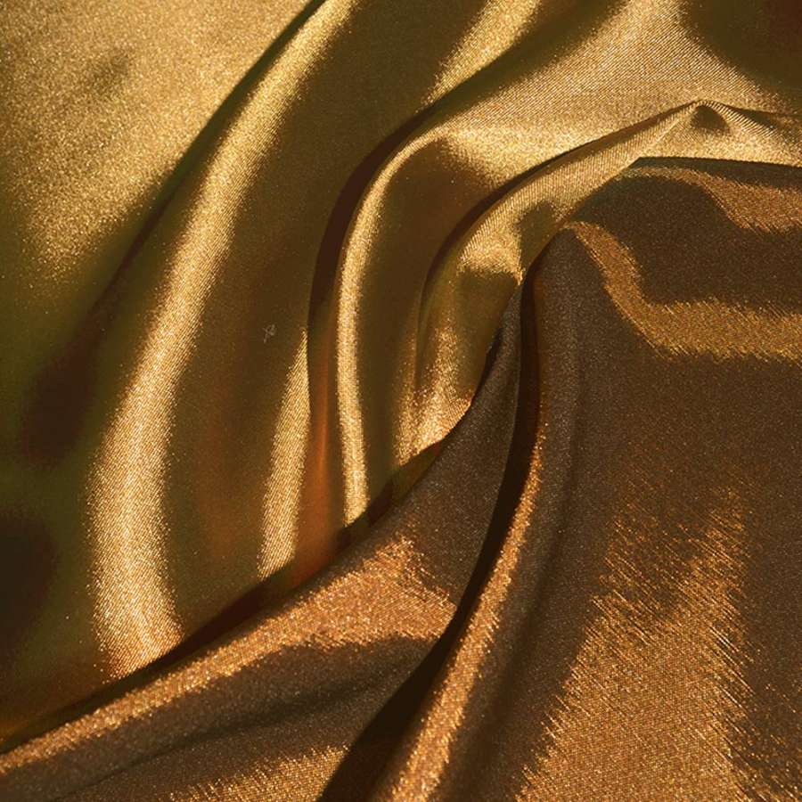 Стрейч атлас хамелеон золотисто оранжевый ш.150