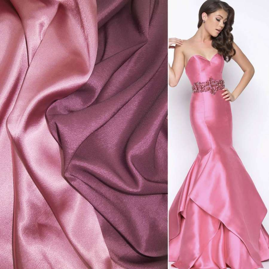 Стрейч атлас хамелеон розово фиолетовый ш.150