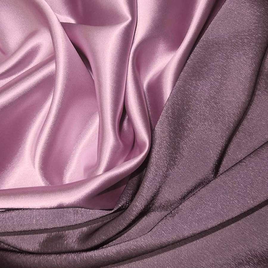 Стрейч атлас хамелеон розово серый ш.150