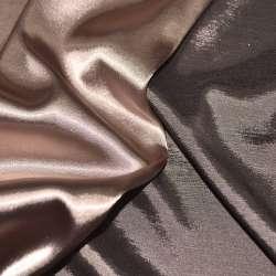 Атлас стрейч хамелеон персиково-коричневый ш.150