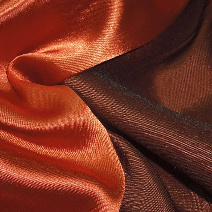 Атлас стрейч хамелеон оранжево-коричневый ш.150