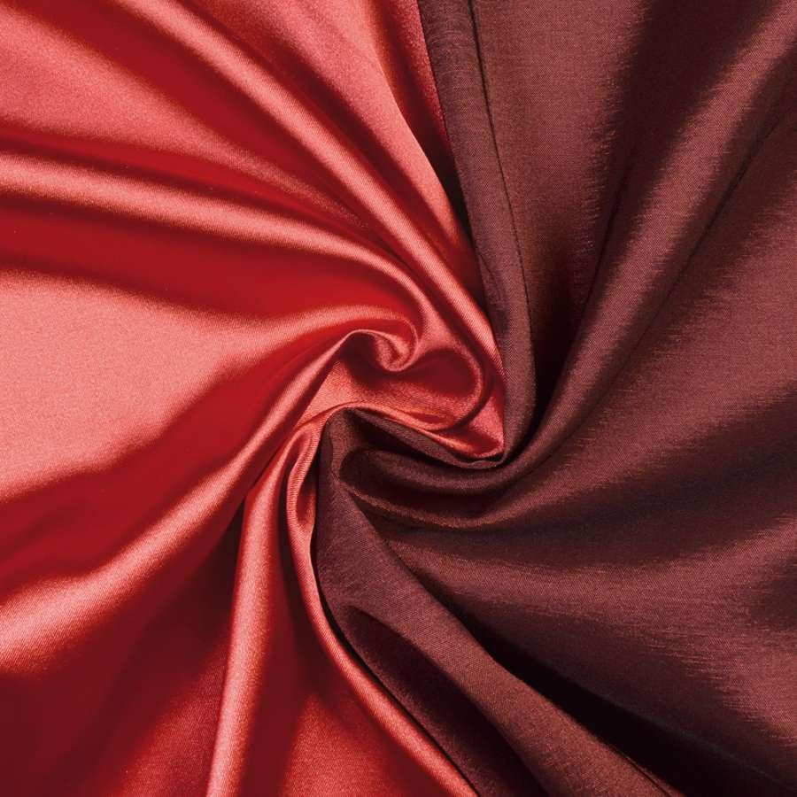 Стрейч атлас хамелеон красный с черным ш.150