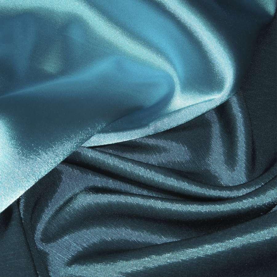 Стрейч атлас хамелеон голубой с черным ш.150