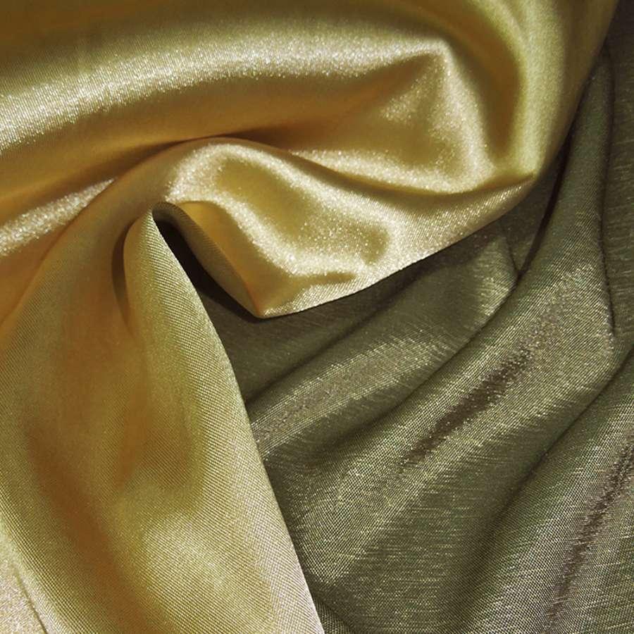 Стрейч атлас хамелеон золотисто зеленый ш.150