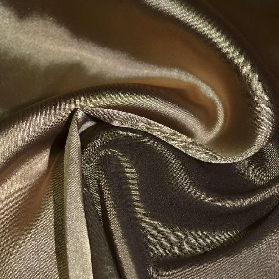 Стрейч атлас хамелион золотисто коричневый ш.150