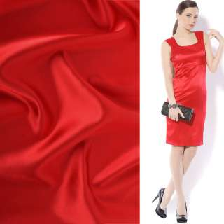Атлас стрейч шамус ярко-красный ш.150