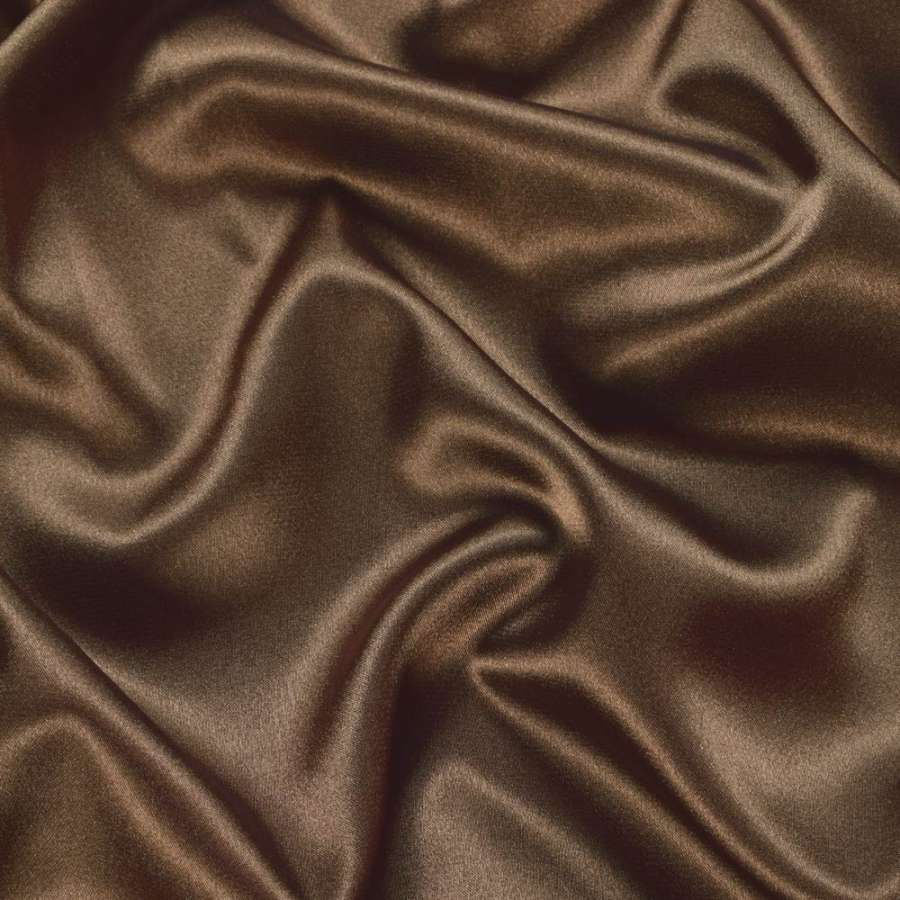 Атлас стрейч шамус коричневый с перламутром ш.150