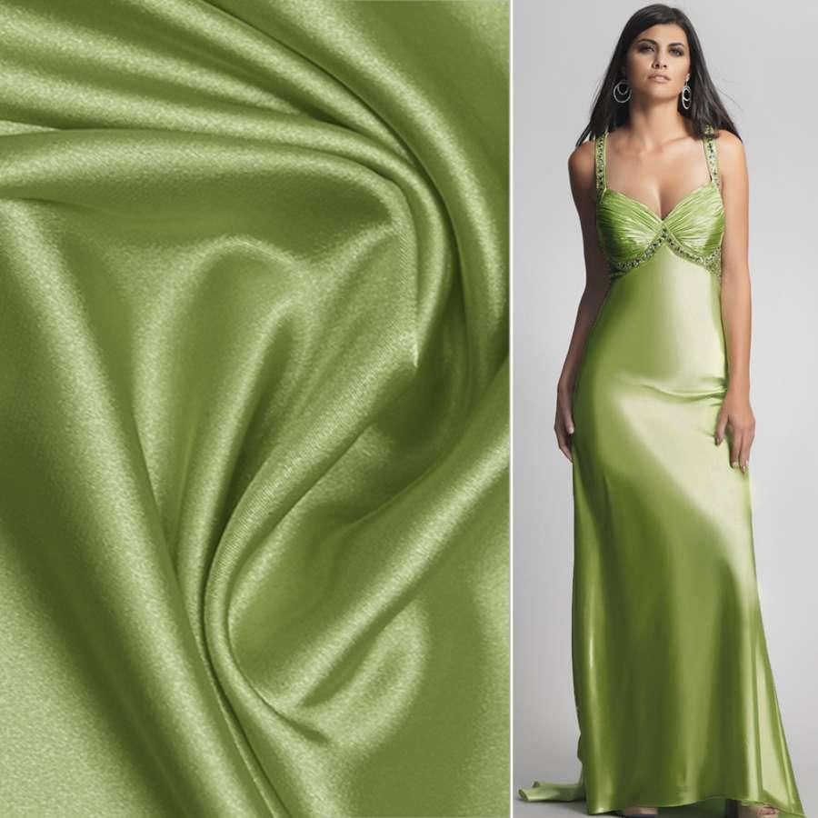 Стрейч атлас шамус салатово зеленый ш.150