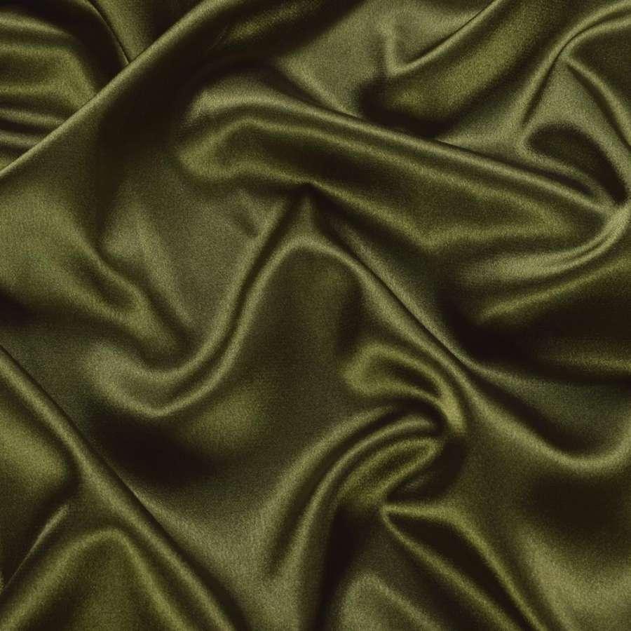 Стрейч атлас шамус оливковый темный ш.150