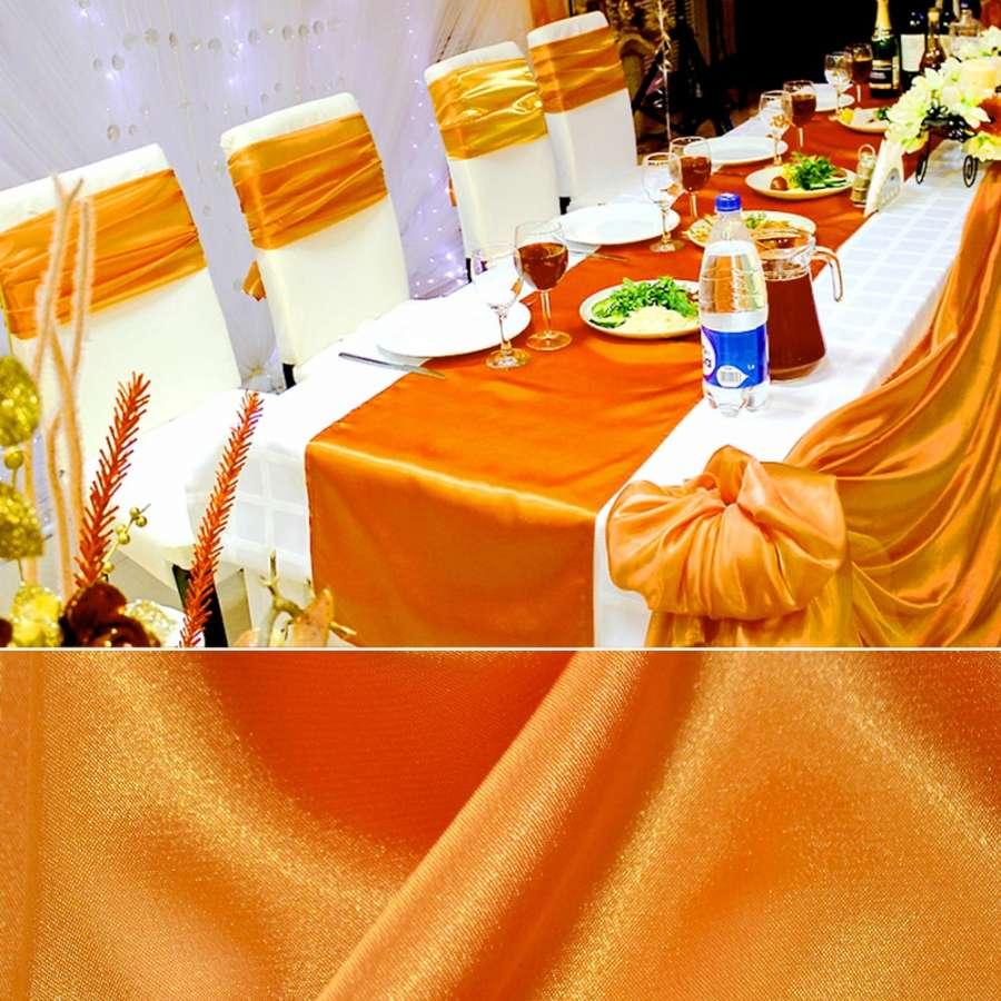 Стрейч атлас оранжевый шамус пл.130 г/м ш.150