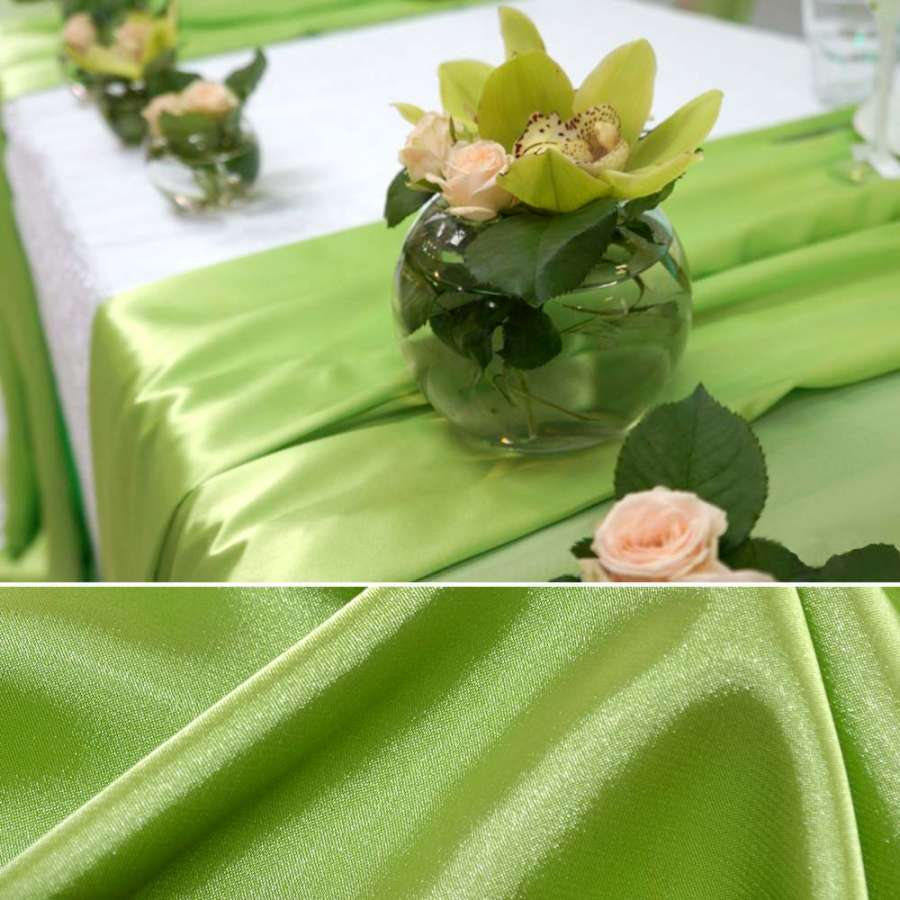 Атлас стрейч шамус ярко-зеленый пл.130 г/м ш.150
