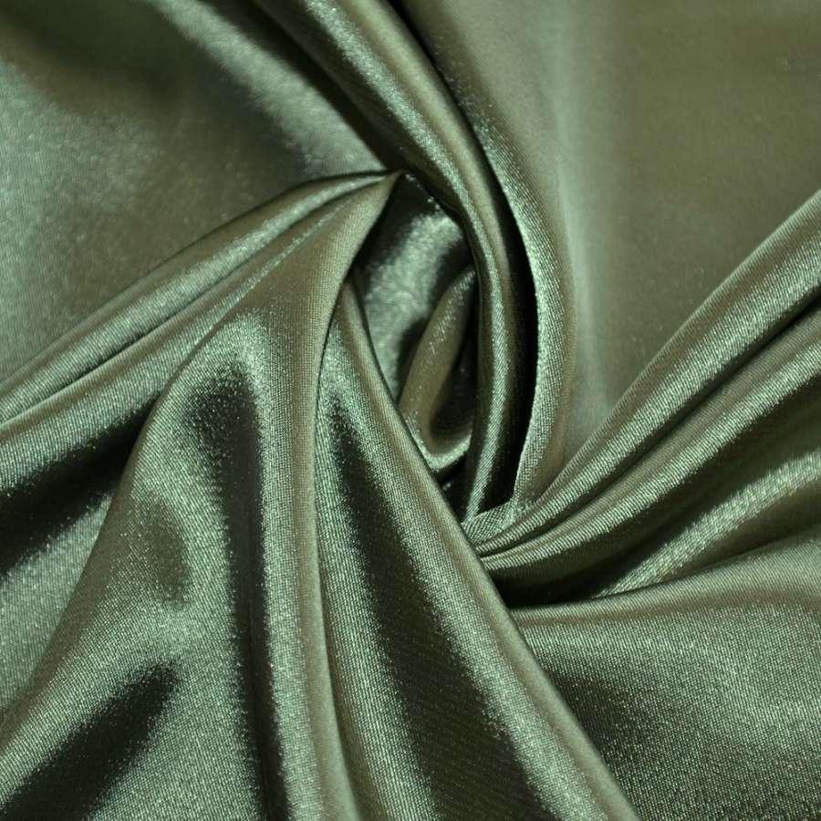 Атлас стрейч шамус темно-зелений пл.130 г/м ш.150