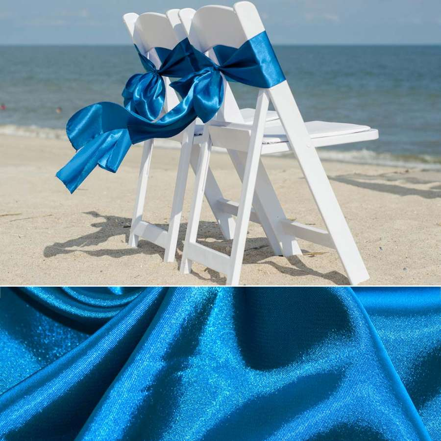 Стрейч атлас сине голубой шамус пл.130 г/м ш.150