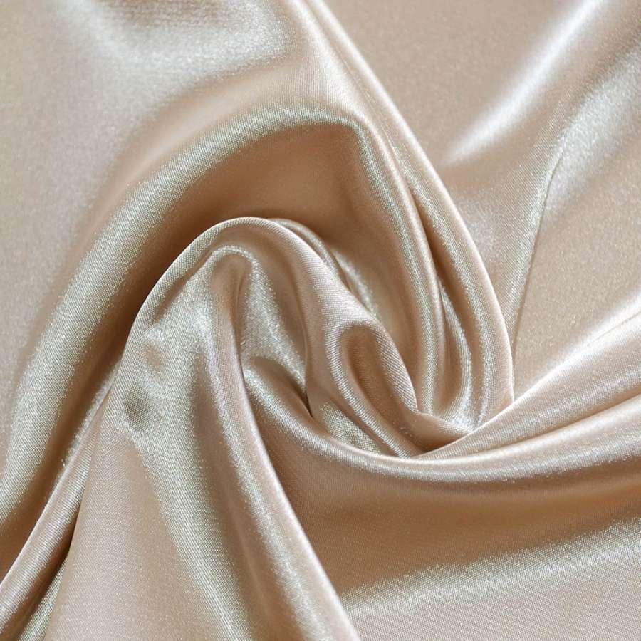 Атлас стрейч шамус светло-бежевый с коричневым оттенком пл.130 г/м ш.150