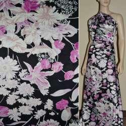 Атлас стрейч шамус черный в розово-белый цветок ш.120