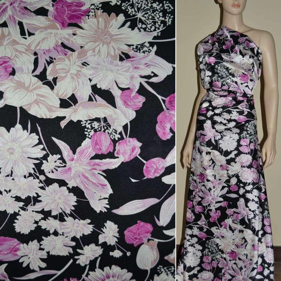 Стрейч атлас черный в розово белый цветок шамус ш.120