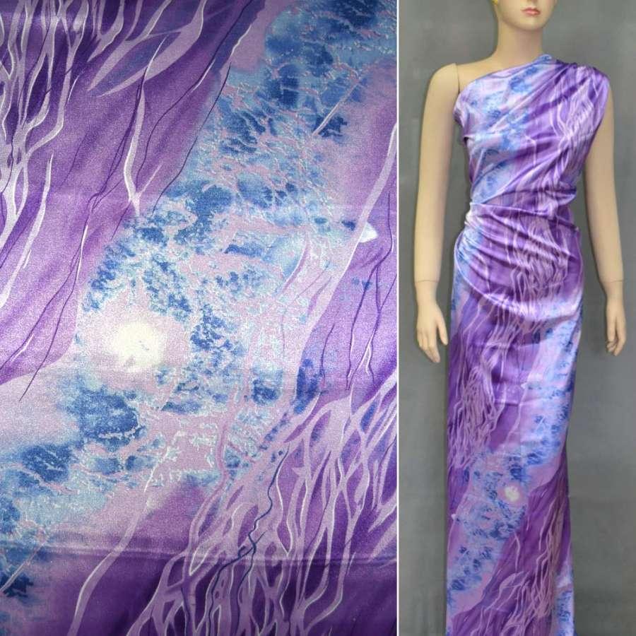 Стрейч атлас фиолетовый в голубой абстрактный рисунок шамус ш.120
