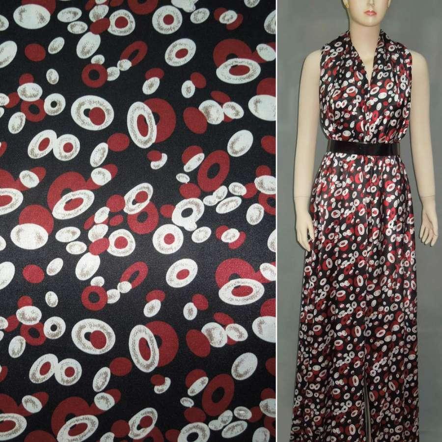 Стрейч атлас черный в красные и белые бублики шамус ш.120