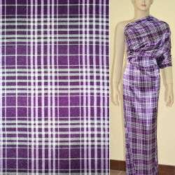 Атлас стрейч фиолетовый в серые и розовые квадраты ш.120