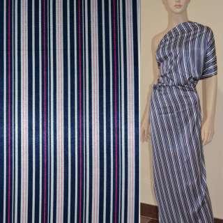 Стрейч атлас белый в сине малиновые полосы шамус ш.120
