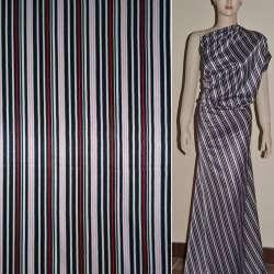 Атлас стрейч шамус белый в черно-красные полоски ш.120