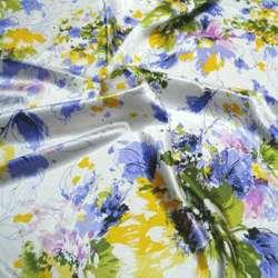 Атлас стрейч шамус белый в зелено-фиолетовые цветы ш.120