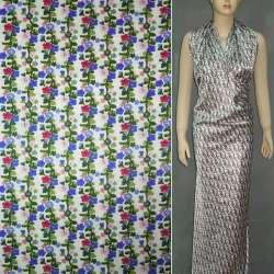 Атлас стрейч шамус білий з дрібними синьо-рожевими квітками ш.120