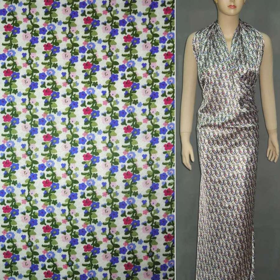 Стрейч атлас белый с мелкими сине розовый цветок шамус ш.120