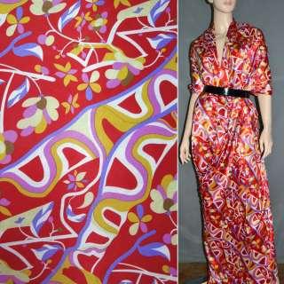Стрейч атлас красный с желто фиолетовыми цветами,абстракцией шамус ш.120