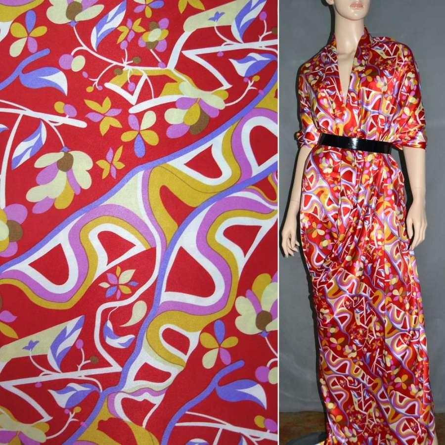 Атлас стрейч шамус червоний з жовто-фіолетовими квітами, абстракцією ш.120
