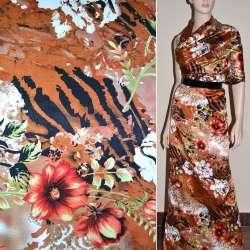 Атлас стрейч шамус коричнево-рудий з червоно-білими квітами ш.120