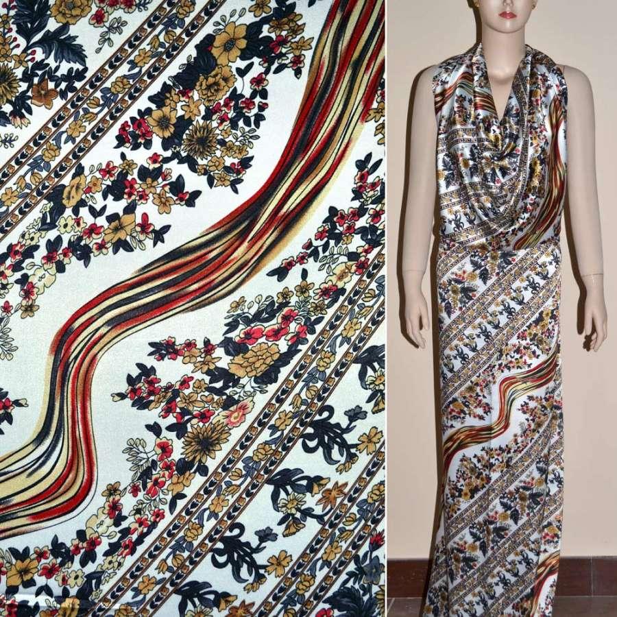 Стрейч атлас белый с серо бежевыми цветами и полосами шамус ш.120