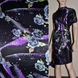 Атлас стрейч шамус чорний в сірі троянди, фіолетові краплі ш.120