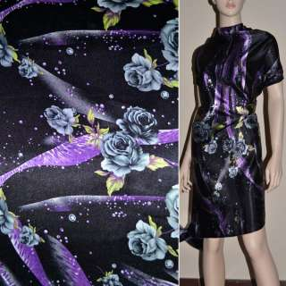 Стрейч атлас черный в серые розы,фиолетовые капли шамус ш.120