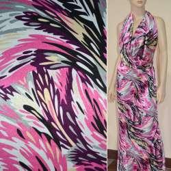 Атлас стрейч светло-серый в розово-сиреневые перья ш.120