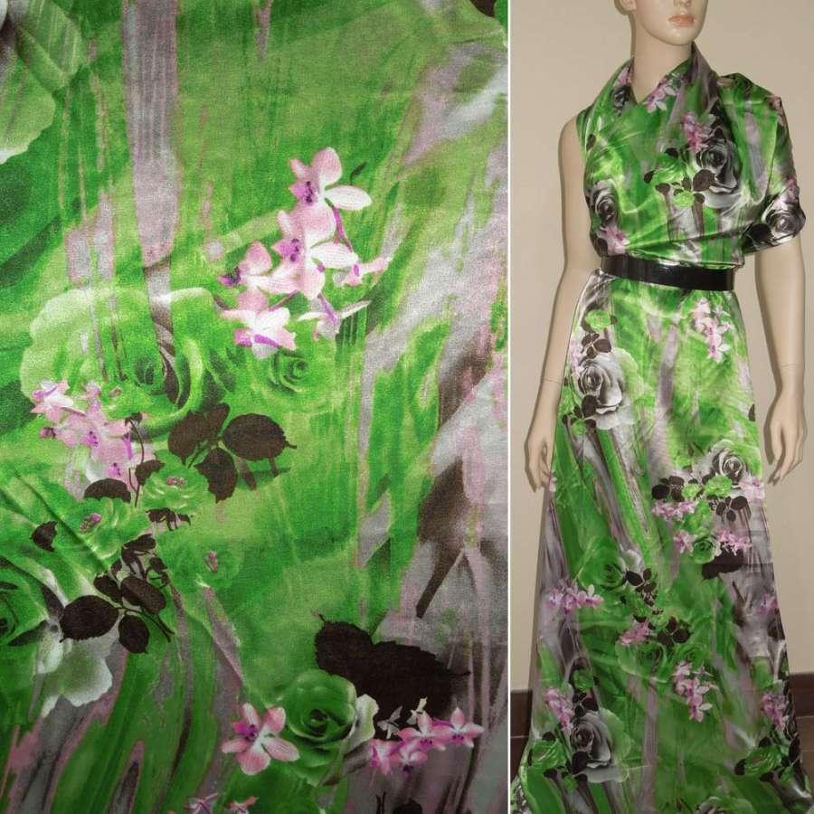 Атлас стрейч зелено-серый с коричневыми розами ш.120