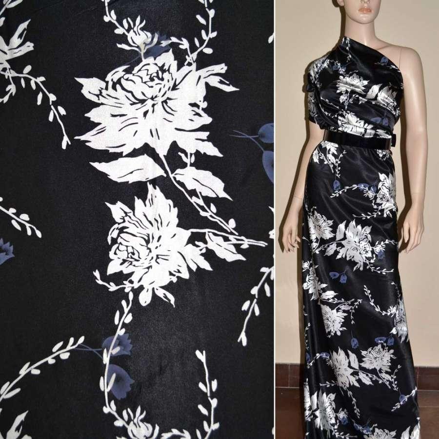 Стрейч атлас черный в белые цветы ш.120
