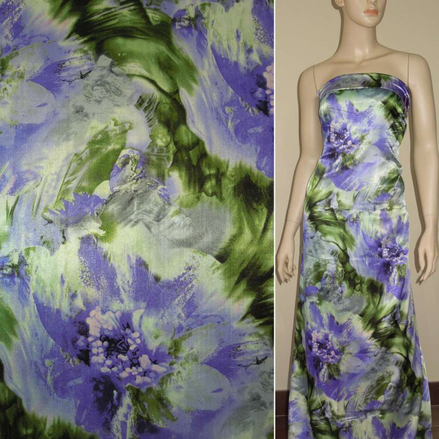 Атлас стрейч серо-зеленый с фиолетовыми большими цветами ш.120