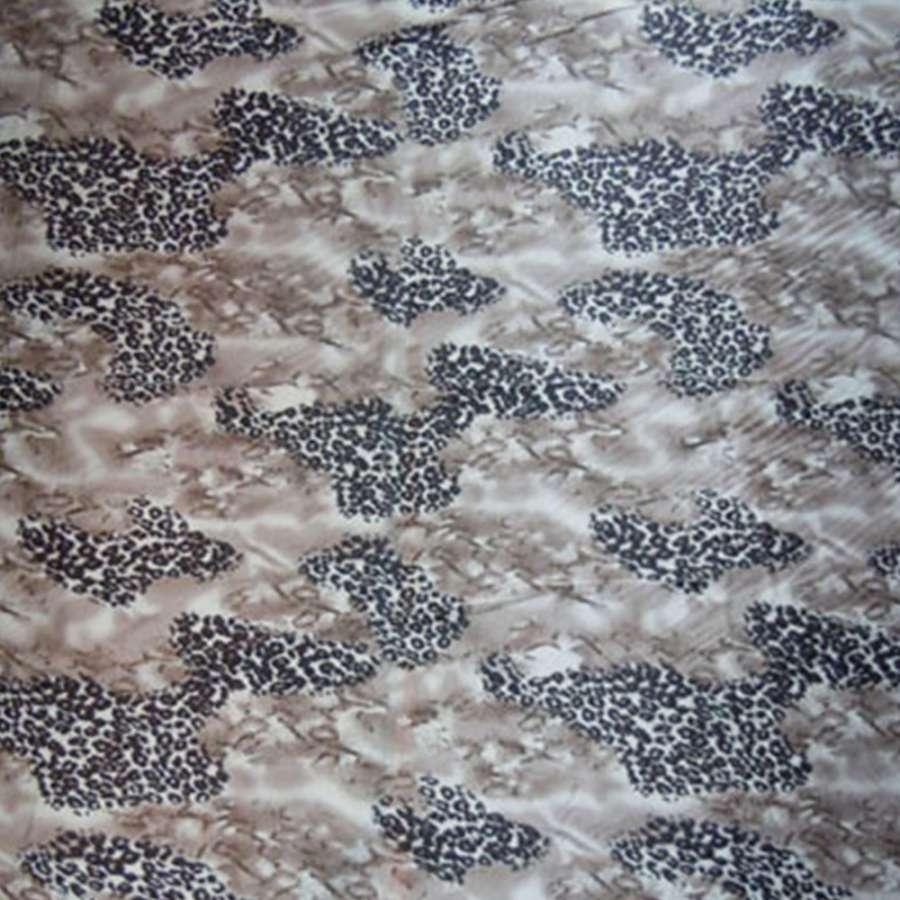 Стрейч атлас темно бежевый с коричневый принт леопард овый принт ш.120