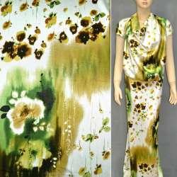 Атлас стрейч белый коричневый в салатные вставки и цветы ш.120