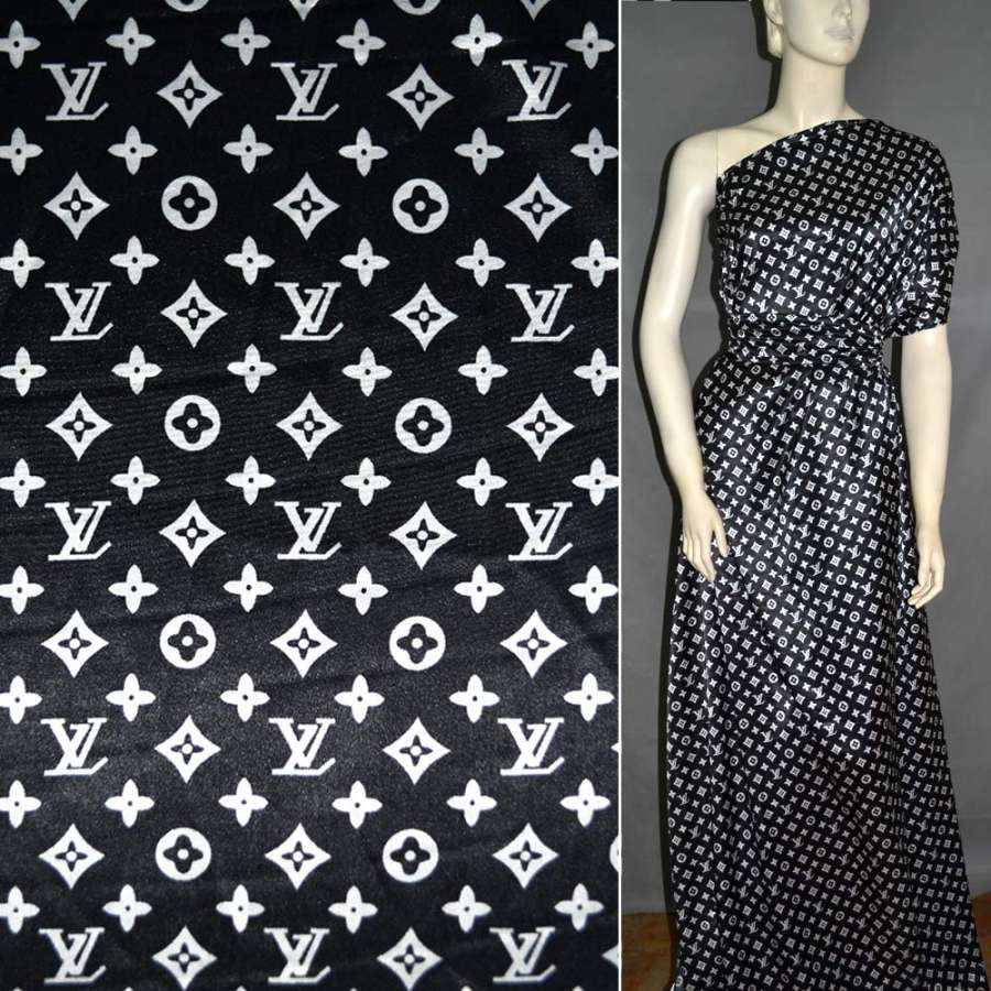 Стрейч атлас черный с крупным логотипом LV ш.120